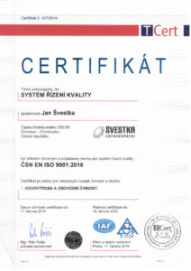 Certifikát ISO Jan Švestka